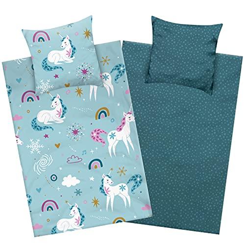 Aminata Kids Biber Bettwäsche 135 x 200 Kinder Einhorn-Motiv Mädchen Baumwolle, Reißverschluss, Kinder-Wende-Bettwäsche-Set mit Unicorn, warm, weich & kuschelig, türkis, Biberbettwäsche