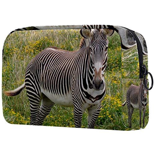 AITAI Bolsa de maquillaje grande para viaje, organizador de cosméticos de África salvaje animal cebra