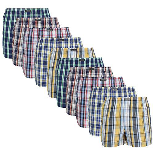 Lower East American Style Boxershorts, Mehrfarbig Große Karos), XXX-Large (Herstellergröße: 3XL), 10er-Pack