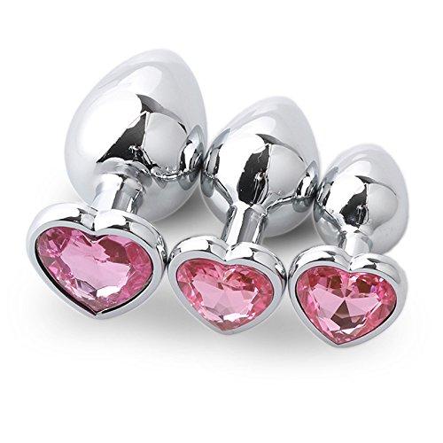Juguete De Acero Inoxidable Con Forma De Corazón De 3 Piezas, Pero P, Herramienta Lug Para Mujer Sorpresa (rosa)