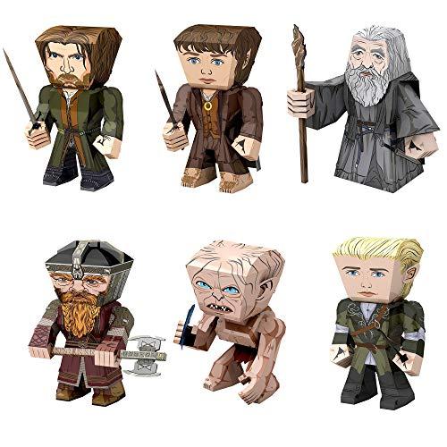 Fascinations Metal Earth 3D Metal Model Kits Lord of The Rings Set of 6 - Gandalf - Frodo Baggins - Aragorn - Legolas - Gollum - Gimli