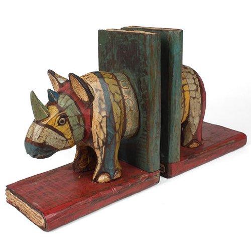 Siesta - Fermalibri in legno con rinoceronti, fatti a mano, in legno