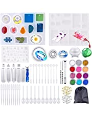 159 PCS Silicone Resin Molds For Jewelry Making, Epoxy Resin Molds, Jewelry Casting Molds, For Bangle Pendant Earring Crystal DIY Jewelry