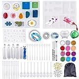 Sportools Set de 159 moldes resina epoxi, resina epoxi kit con 12 lentejuelas de colores, para crear joyas de resina colgantes collares pendiente de anillo