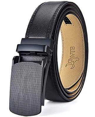 """DWTS Men's Belt Ratchet Genuine Leather Dress Belt for Men with Slide Click Buckle Adjustable Trim to Fit (B11 Black, 36""""-44"""" Waist)"""
