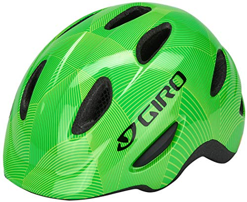 Giro Unisex Youth Scamp Mips Bicycle Helmet, Green/Lime Lines, S
