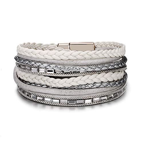 VONRU Leather Cuff Bracelets for Women - Charm Boho Handmade Braid Wrap Bracelets Wristbands Casual Braided Handmade Magnetic Bracelet Cuff Bangle (White Braided Bracelet)