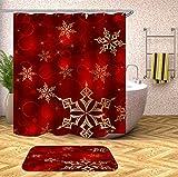 N / A Gancho navideño Cortina de Ducha de baño con Cortina de baño Cortina de Ducha 3D Tela Floral Familia navideña Cortina de Ducha de Moho Impermeable A25 90x180cm