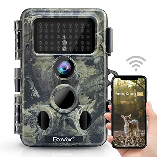 "Ecovox 4K 30MP WiFi Trail Camera Bluetooth Hunting Game Camera with 42pcs No Glow IR Night Vision 0.2s Trigger Time IP66 Waterproof 120° Wide Angle 2.4""LCD Screen for Wildlife Monitoring"