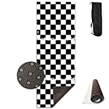 YYRR Estera de yoga Yoga Mats Black and White Chess Board Chessboard Geometric Funny Non-Slip Thick Exercise Mat Cover Carry Bag Strap for Home Gym Flooring 24' X 70.9' X 0.32'