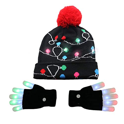 2446a9ca521 Amor LED Light up Christmas Hat Beanie Knit Cap and LED Gloves Unisex Ugly  Sweater Holiday