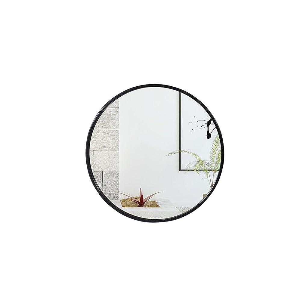 エミュレートする一節クローンJTWJ ミラールームミラー、壁掛けバニティミラー、ラウンドミラー、3色、4サイズあり (色 : ブラック, サイズ さいず : 50 cm 50 cm)