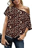 AOISAGULA Camiseta de Manga Corta para Mujer con Hombros Descubiertos Camisetas de Verano Camisetas Sueltas Blusa básica túnica para Mujer Leopardo S
