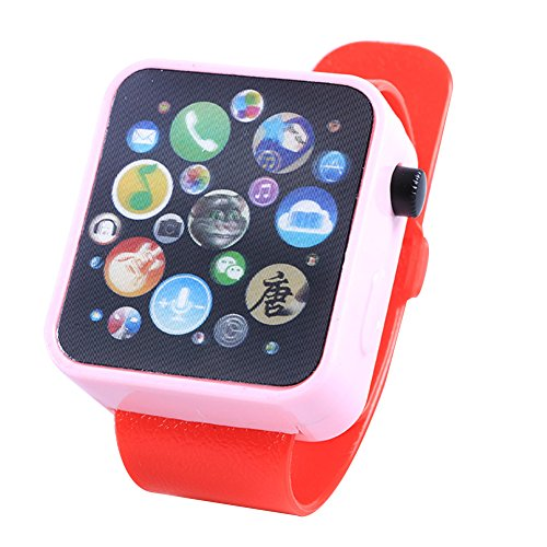 ETbotu Regalo di natale, Orologio multifunzione da polso per orologio da polso giocattolo multifunzione per la prima educazione Red watch strap