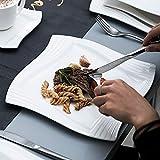 MALACASA, Serie Amparo, 60 TLG. Cremeweiß Porzellan Geschirrset Tafelservice mit Kaffeeservice, Dessertteller, Suppenteller und Flachteller für 12 Personen - 4