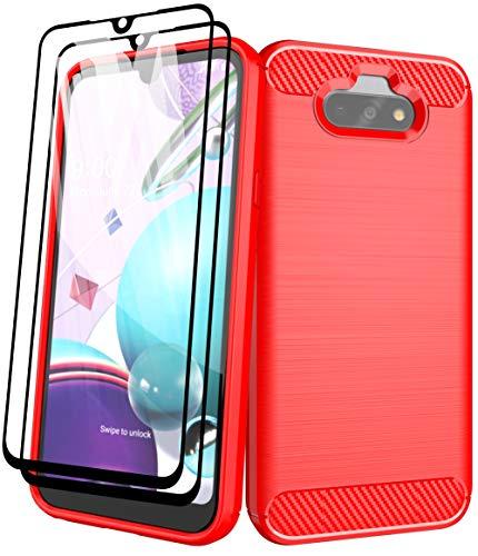 Aliruke Hülle Kompatibel für LG Phoenix 5/LG Fortune 3/LG Risio 4/LG K31 Hülle mit gehärtetem Glas Bildschirmschutz, Slim TPU Bumper Cover Flexible Stoßfest Schutzhülle für LGK31, Rot