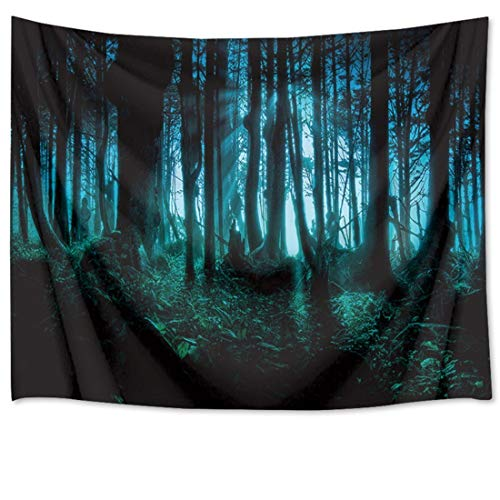 Haunted Woods Tapestry Ghost Hid Behind The Trees Wall Hanging Scary Forest Tapestries for Bedroom Living Room Dorm Party Decor