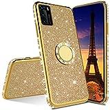 COTDINFOR Compatible with Samsung Galaxy S21 Plus Funda Cover Glitter Diamond Bling Fundas Kickstand TPU Anti-Arañazos Suave Silicona Carcasa para Galaxy S21 Plus Case - Gold Glitter KDL.