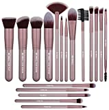 BS-MALL Makeup Brush Set 18 PCS Premium Synthetic Kabuki Foundation Eyebrow Eyeshadow Concealer Blending Eyeliner Comestic Brushes Champagne (Purple Silver)