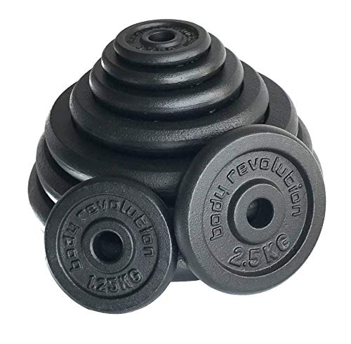 Body Revolution Cast Iron Weight Plates in Packs of 2 – Standard 1 Inch / 25mm Black Iron Plates for Barbells & Dumbbells – Range of Weights and Sizes Sold Separately (15kg x 2)