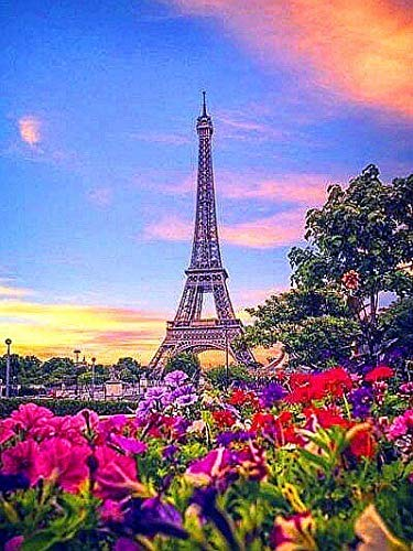 Eiffel Tower Full Diamond Mosaic Scenery Diamond Embroidery Rhinestone Picture Diamond Painting A4 Full Round 40x50cm