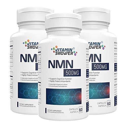 Suplemento NMN Mononucleótido de Nicotinamida | 500mg | 60 cápsulas por botella | Potenciadores NAD | Suplementos antienvejecimiento para la reparación celular y la energía (3 PACK)