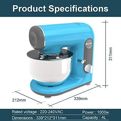 Kuechenmaschine-Ruehrmaschine-Knetmaschine-DELECHEF-Teigkneter-1000-WWatt-6Sechs-Gaenge-Mit-4L-Edelstahl-SchuesselRuehrschuessel-Schneebesen-Knethaken-RuehrbesenSchlagbesen-und-Spritzschutz