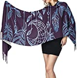 American Amulet Shamanism Crescent Moon Feather Iron Alchemy Vintage Ancient Animation Women's Blanket Scarf Fashion Scarfs Warm Wrap Shawl Cape Christmas Gift for Mother Girlfriend Sister