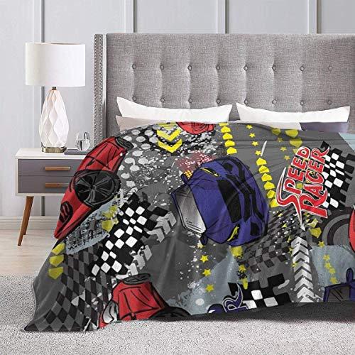 AEMAPE Throw Blanket Race Cars Alfombra térmica Sofá de Coche para niños Alfombrilla para Dormir de Doble Cara Funda de Franela para Invierno 50 'x 60'