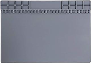 作業マット シリコン製 耐熱500℃ ハンダ作業、電子機器の分解修理に最適 [350 x 250mm] (磁気付き・グレー)