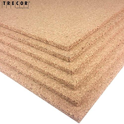 TRECOR Pinnwand Korkplatte Format: 1000 x 500 mm - Stärken: 2-20 mm - hochwertige Korkplatte - hochelastisch und antistatisch - Einseitig geschliffen für bessere Optik (1, 3 mm)
