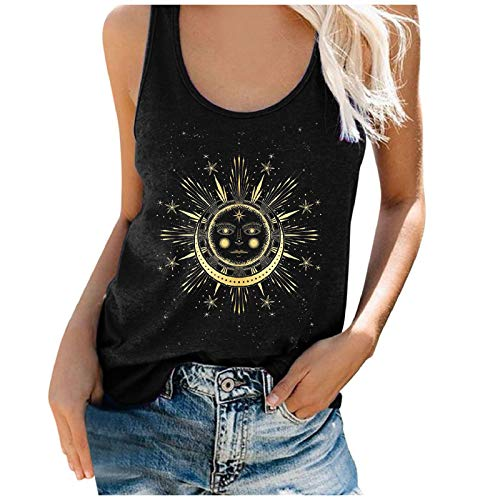 Top Damen Teenager Mädchen Sonne und Mond Druck Tunika Top Ärmellos T-Shirts Sommer Blusentop Basic Kurz Weste Oversize Oberteile Casual Vest Crop Top