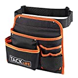 TACKLIFE 6-Pocket Professional Tool Belt, Three Layer Waterproof Fabric, Fluorescent Strips For Night Work, Technician's Tool Holder Work Organizer - PTB01