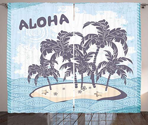 ABAKUHAUS Beach Vintage Tenda, Carino İsola Hawaiana, Colori Chiari Due Pannelli Set, 280 x 245 cm, Pale Blue Purpleblue Champagne
