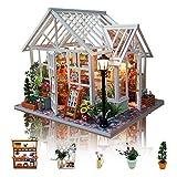 GuDoQi DIY Puppenhaus Miniatur Kit, 3D Hölzernes Puppenhaus Bausatz mit Möbeln und Musik und LED-Licht, Handwerk Miniatur Modellbausätze für Frauen und Sammler, Schöner Blumenladen