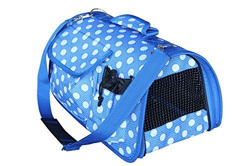 BPS (R) Tonga Trasportino Borsa Borsa di tela, a pois, per cane, gatto, animali domestici Animali, misura: L, 51x 26x 29cm.5x 25x 25cm Blu Blu chiaro