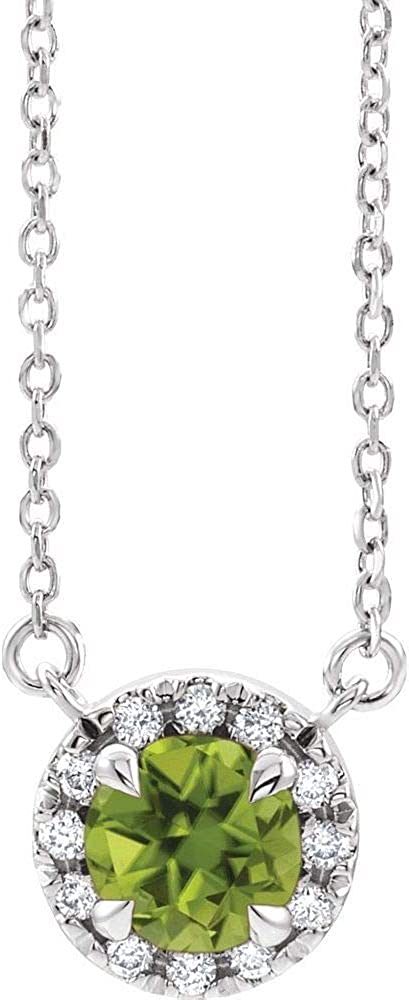 Solid Platinum Max Cheap mail order specialty store 40% OFF Solitaire Peridot and 1 6 Pend Cttw Diamond Charm