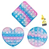3PC Pop Bubble Fidget Sensory Toy,Stress Relief and Anti-Anxiety Toy for Kids and Adults,Autism Special Needs Stress Reliever Squeeze Silicone Toy(Blue &White &Pink )