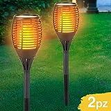 Set 2 Lampade Giardino Effetto Fuoco Altezza 59 cm a Ricarica Solare Fiaccola Torcia Luce ...