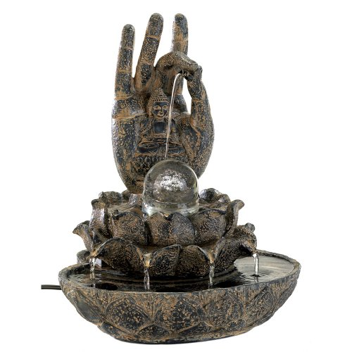 Gifts & Decor Hand of Buddha Stone Like Indoor Table Water Fountain
