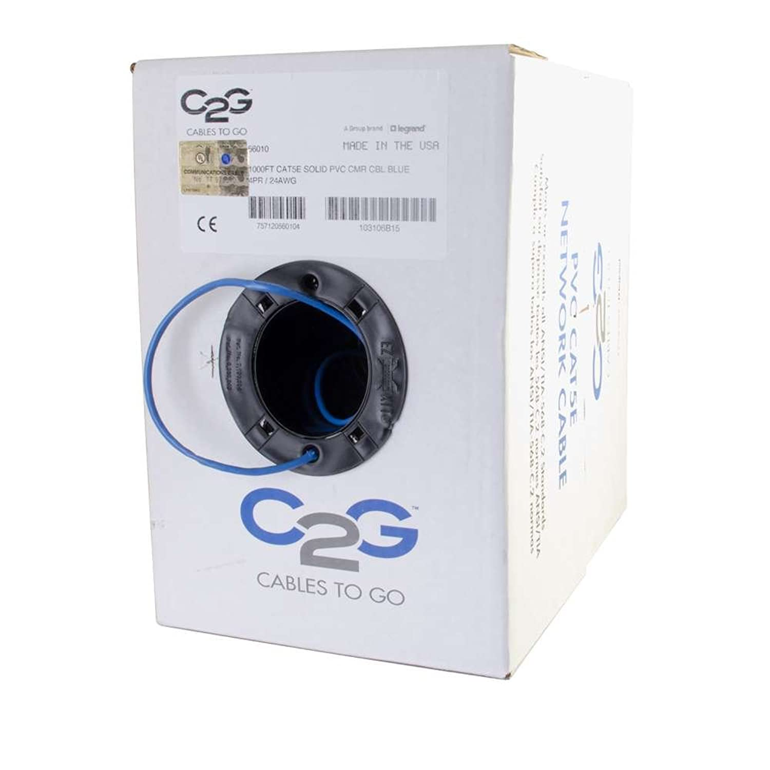 C2G 56010 Cat5e Bulk Cable - Unshielded Ethernet Network Cable with Solid Conductors, Riser CMR-Rated, TAA Compliant, Blue (1000 Feet, 304.8 Meters) (Made in The USA) fqebot2190769