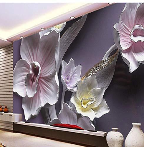 Floral Relief Backdrop 3D Backdrop Floral Mural Kundengebundenes großes Wandgemälde Eco Nonwovens Wallpaper papel de parede-208X146CM