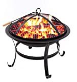 Neakomuki Fire Pit 22 inch Portable Fire Pits Outdoor Wood Burning Steel Firepits for Outside with Spark Screen Small BBQ Firepit Grill with Poker and Grate for Camping Patio Backyard Garden