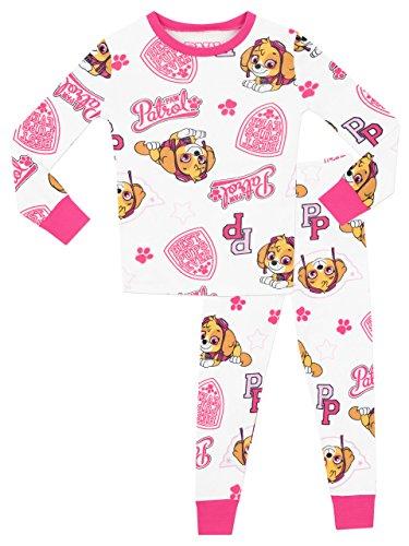 Paw Patrol Pijamas para Niñas Ajuste Ceñido Blanco 4-5 Años