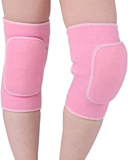 LUNA Vow 1 Pair Kids Protective Knee Pads Breathable Flexible Elastic Knee Sleeve Pad Support Protector for Volleyball, Dance (Pink, S for 6-11 Ages)