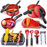 Geyiie Play Toy Kitchen Playsets Accessories 24PCS Kids Kitchen Play Food Set Including Kitchen Cookware Toys Pots and Pans Pretend BBQ Toy Kit for 3+ Year Old Children Girls Boys