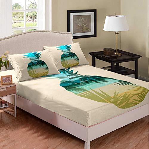 Juego de sábanas bajeras con estampado de piña tropical, juego de sábanas de verano hawaiano con patrón de palmera para niños, niñas, adolescentes, dormitorio, decoración de cama, tamaño doble