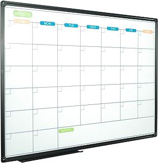 JILoffice Dry Erase Calendar Whiteboard - Magnetic White Board Calendar Monthly 36 X 24 Inch, Black Aluminum Frame Wall Mo...