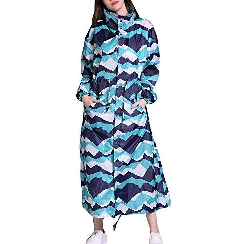 Damen Regenmantel mit Kapuze, wasserdicht, winddicht, leicht, modisch, faltbar, lang, bunt bedruckt, Größe L Gr. L/X-Large, Blaue Peaks