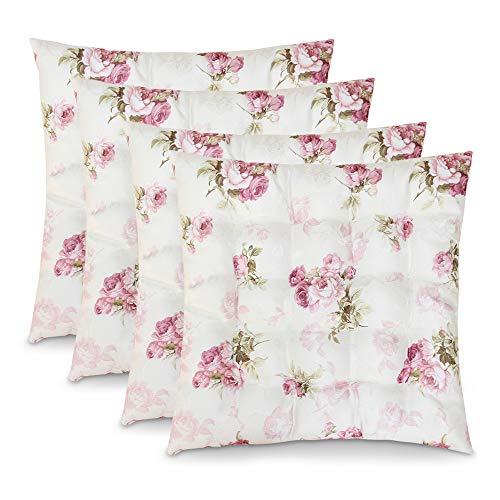 4er Set Sitzkissen Stuhlkissen ROSI 40x40x4 Rosen - rosa weiß Landhaus